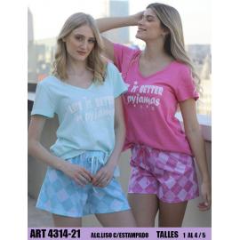 Pijama de algodon liso